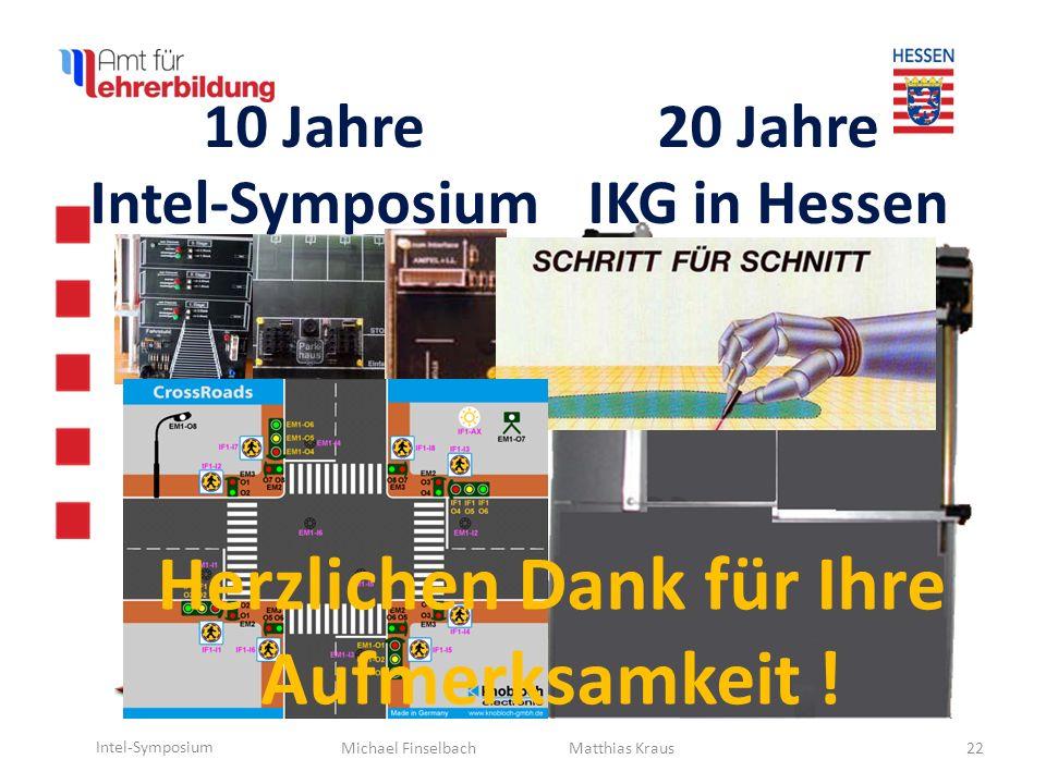 Michael Finselbach Intel-Symposium 22 Matthias Kraus Herzlichen Dank für Ihre Aufmerksamkeit ! 10 Jahre Intel-Symposium 20 Jahre IKG in Hessen