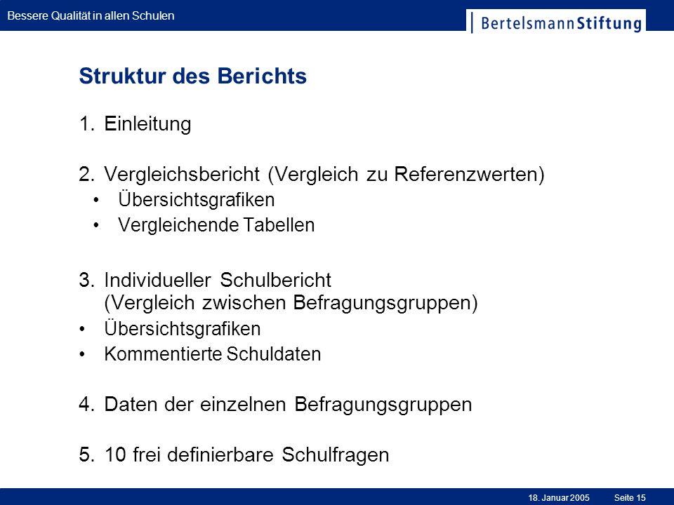 Bessere Qualität in allen Schulen 18. Januar 2005Seite 15 Struktur des Berichts Einleitung Vergleichsbericht (Vergleich zu Referenzwerten) Übersichtsg