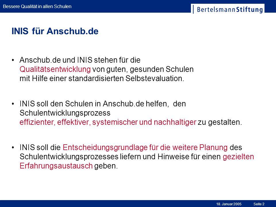 Bessere Qualität in allen Schulen 18. Januar 2005Seite 2 INIS für Anschub.de Anschub.de und INIS stehen für die Qualitätsentwicklung von guten, gesund