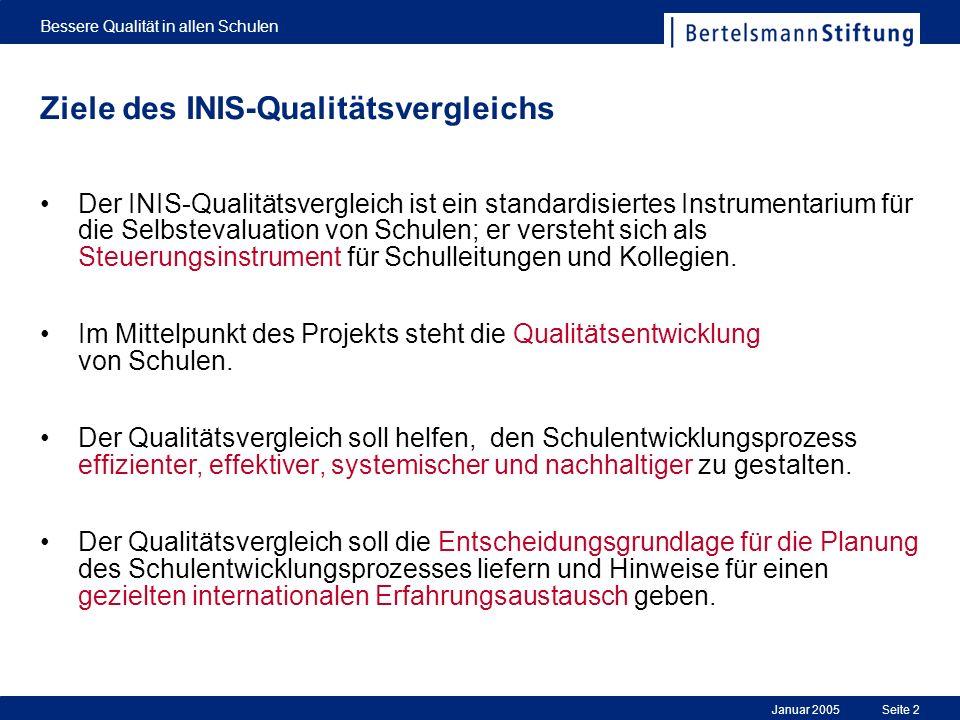 Januar 2005 Bessere Qualität in allen Schulen Seite 2 Ziele des INIS-Qualitätsvergleichs Der INIS-Qualitätsvergleich ist ein standardisiertes Instrume