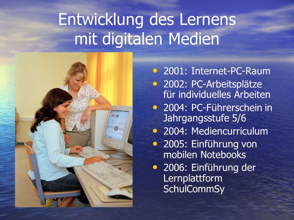 Entwicklung des Lernens mit digitalen Medien 2001: Internet-PC-Raum 2002: PC-Arbeitsplätze für individuelles Arbeiten 2004: PC-Führerschein in Jahrgan