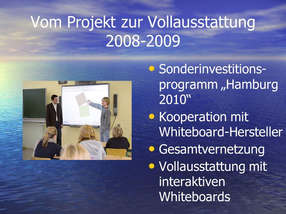 Vom Projekt zur Vollausstattung 2008-2009 Sonderinvestitions- programm Hamburg 2010 Kooperation mit Whiteboard-Hersteller Gesamtvernetzung Vollausstat