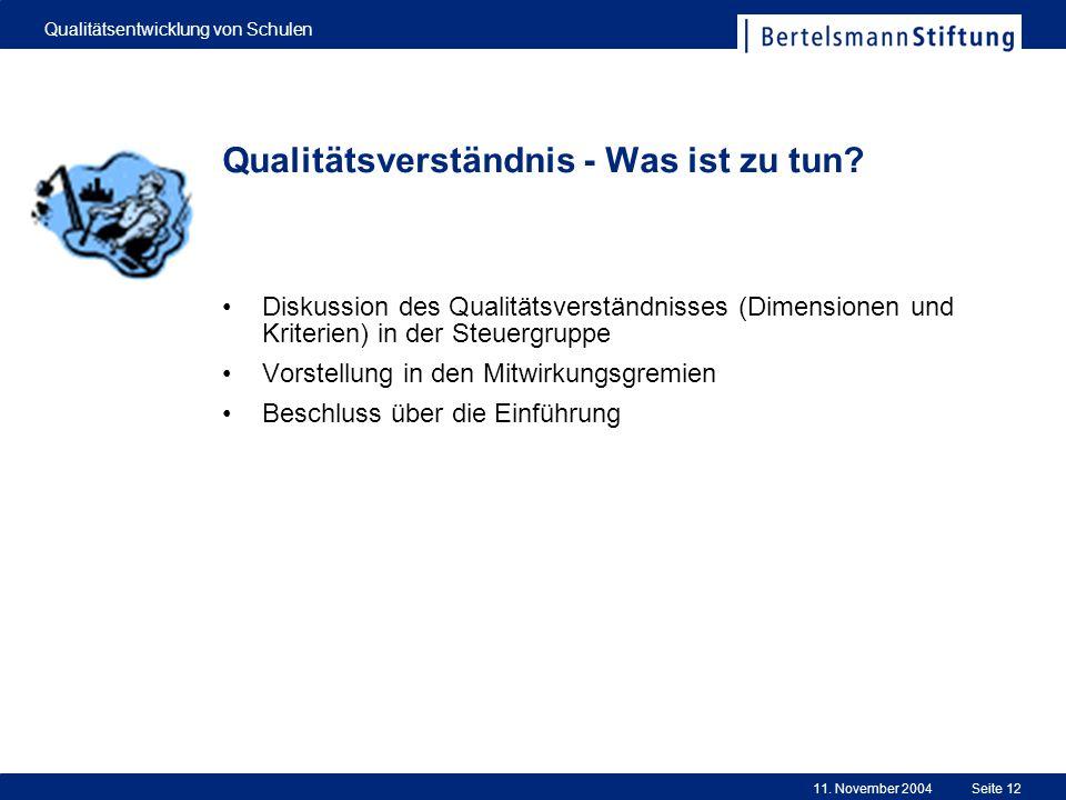 11. November 2004 Qualitätsentwicklung von Schulen Seite 12 Qualitätsverständnis - Was ist zu tun? Diskussion des Qualitätsverständnisses (Dimensionen