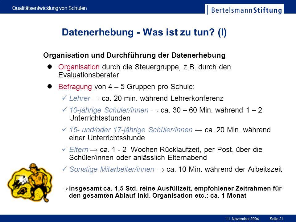 11. November 2004 Qualitätsentwicklung von Schulen Seite 21 Datenerhebung - Was ist zu tun? (I) Organisation und Durchführung der Datenerhebung Organi