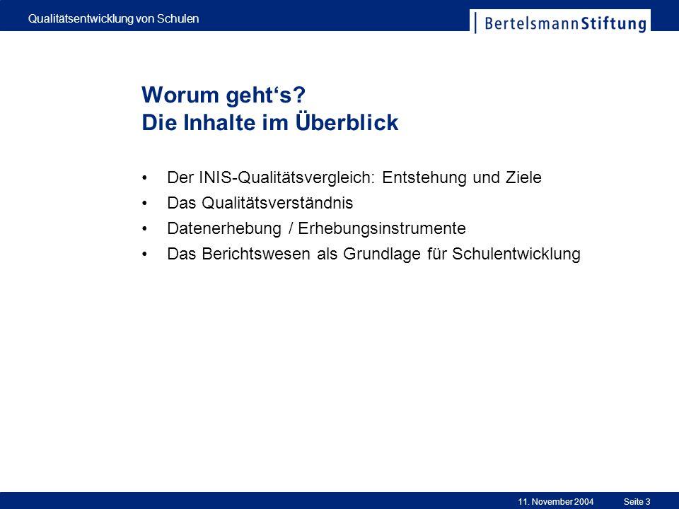 11. November 2004 Qualitätsentwicklung von Schulen Seite 3 Der INIS-Qualitätsvergleich: Entstehung und Ziele Das Qualitätsverständnis Datenerhebung /