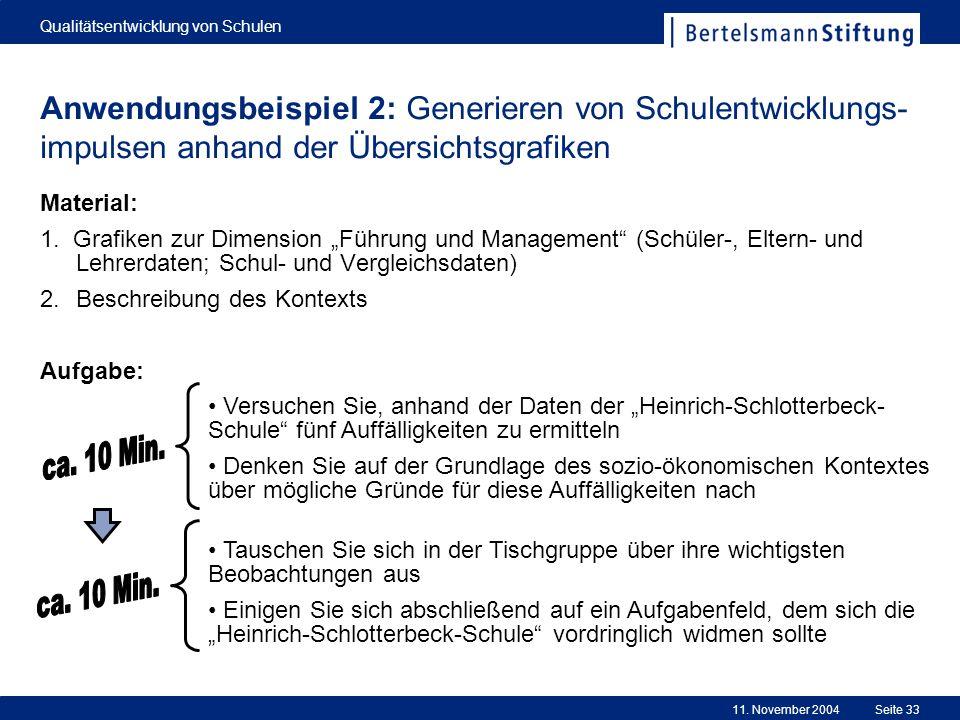 11. November 2004 Qualitätsentwicklung von Schulen Seite 33 Anwendungsbeispiel 2: Generieren von Schulentwicklungs- impulsen anhand der Übersichtsgraf