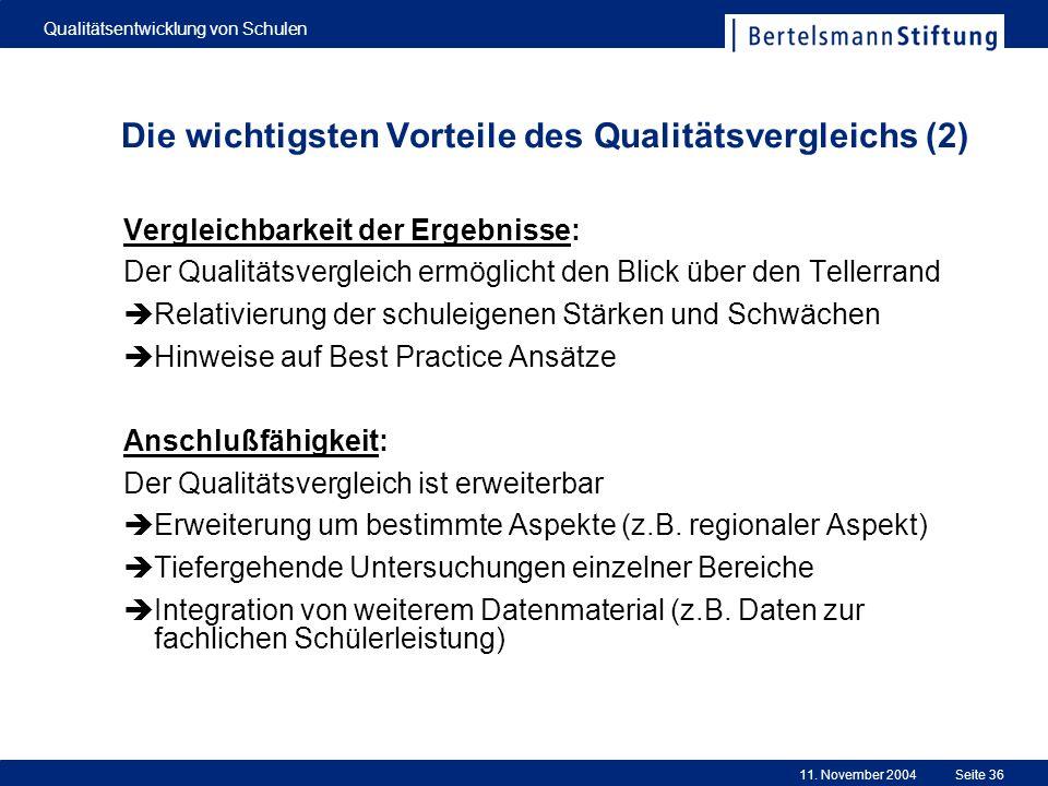 11. November 2004 Qualitätsentwicklung von Schulen Seite 36 Die wichtigsten Vorteile des Qualitätsvergleichs (2) Vergleichbarkeit der Ergebnisse: Der