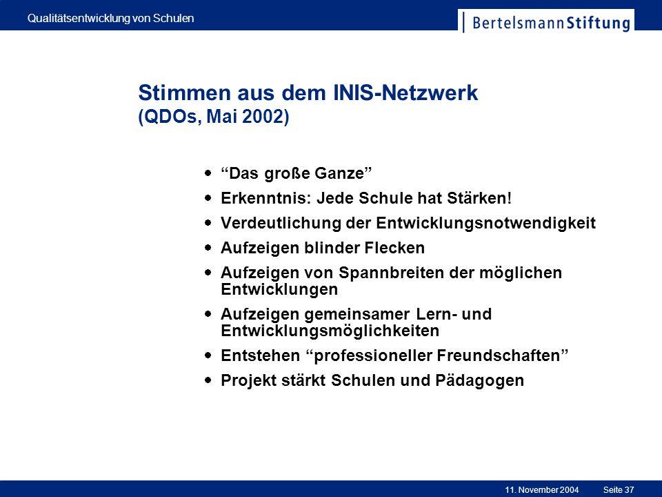 11. November 2004 Qualitätsentwicklung von Schulen Seite 37 Stimmen aus dem INIS-Netzwerk (QDOs, Mai 2002) Das große Ganze Erkenntnis: Jede Schule hat