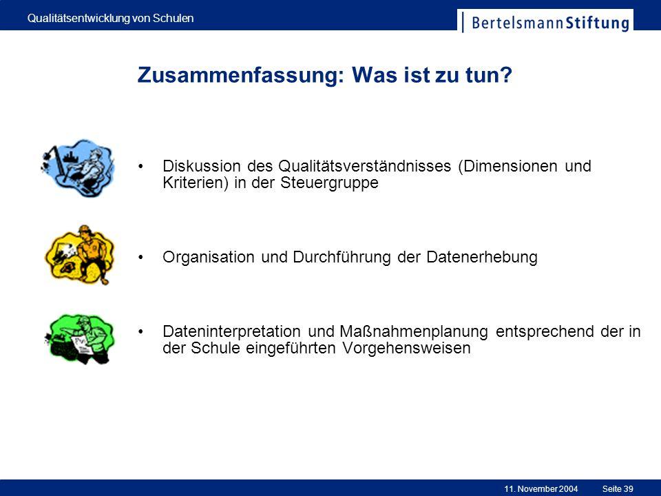 11. November 2004 Qualitätsentwicklung von Schulen Seite 39 Zusammenfassung: Was ist zu tun? Diskussion des Qualitätsverständnisses (Dimensionen und K