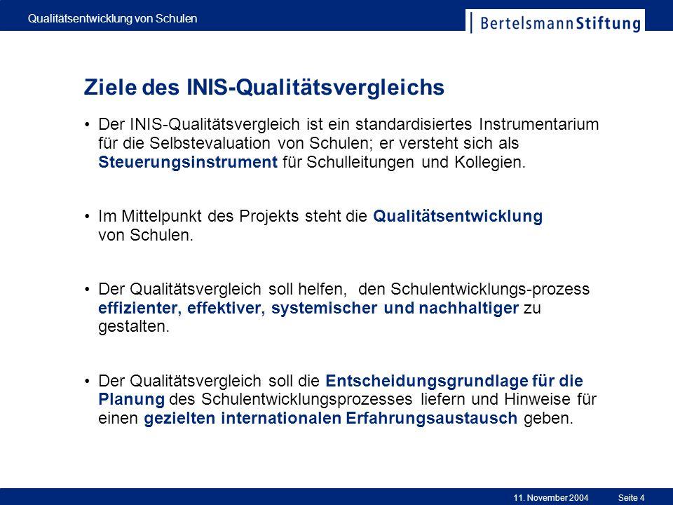 11. November 2004 Qualitätsentwicklung von Schulen Seite 4 Ziele des INIS-Qualitätsvergleichs Der INIS-Qualitätsvergleich ist ein standardisiertes Ins