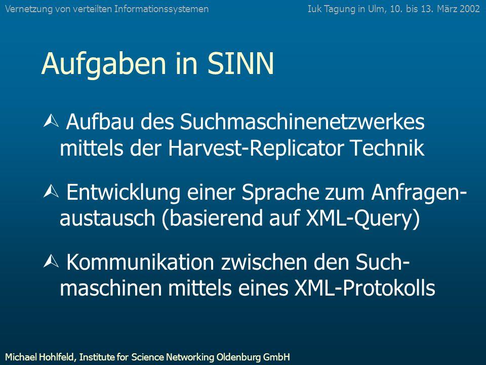 Aufgaben in SINN Ù Aufbau des Suchmaschinenetzwerkes mittels der Harvest-Replicator Technik Ù Entwicklung einer Sprache zum Anfragen- austausch (basierend auf XML-Query) Ù Kommunikation zwischen den Such- maschinen mittels eines XML-Protokolls Iuk Tagung in Ulm, 10.