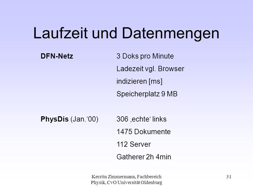 Kerstin Zimmermann, Fachbereich Physik, CvO Universität Oldenburg 31 Laufzeit und Datenmengen DFN-Netz 3 Doks pro Minute Ladezeit vgl. Browser indizie