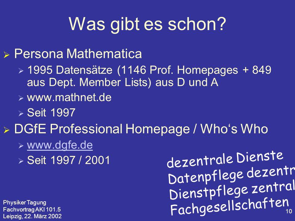 Physiker Tagung Fachvortrag AKI 101.5 Leipzig, 22. März 2002 10 Was gibt es schon? Persona Mathematica 1995 Datensätze (1146 Prof. Homepages + 849 aus
