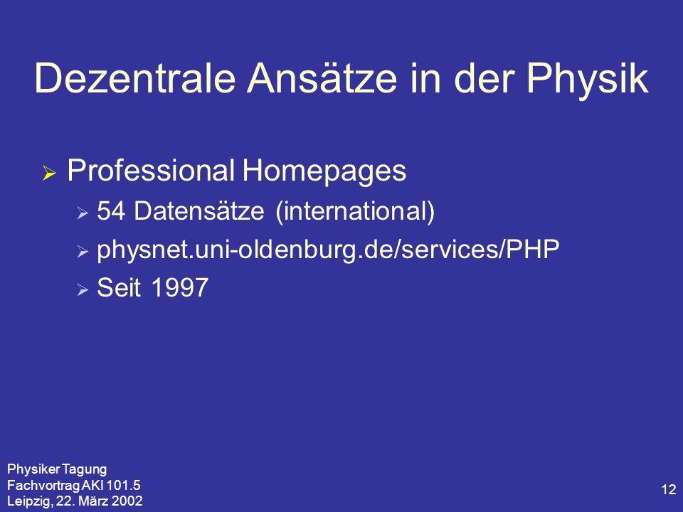 Physiker Tagung Fachvortrag AKI 101.5 Leipzig, 22. März 2002 12 Dezentrale Ansätze in der Physik Professional Homepages 54 Datensätze (international)