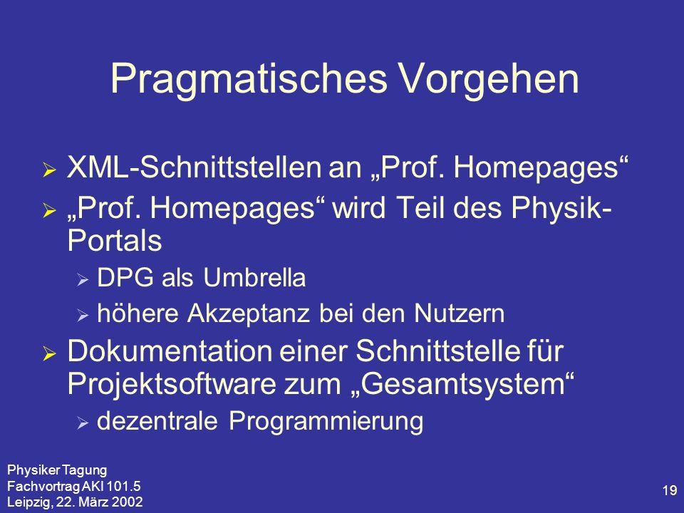 Physiker Tagung Fachvortrag AKI 101.5 Leipzig, 22. März 2002 19 Pragmatisches Vorgehen XML-Schnittstellen an Prof. Homepages Prof. Homepages wird Teil