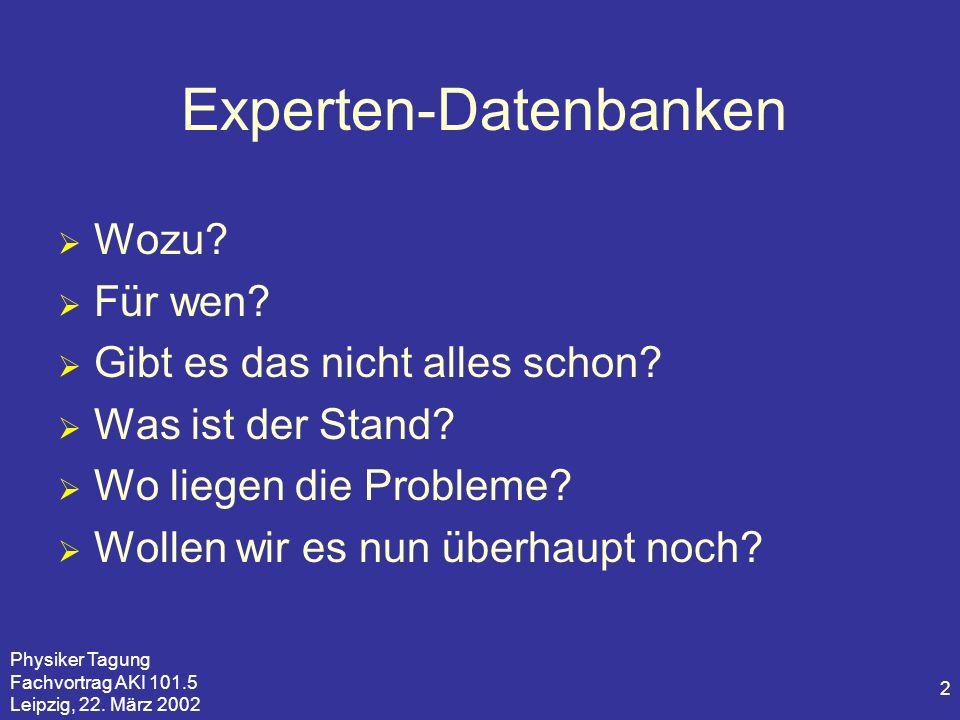 Physiker Tagung Fachvortrag AKI 101.5 Leipzig, 22. März 2002 2 Experten-Datenbanken Wozu? Für wen? Gibt es das nicht alles schon? Was ist der Stand? W
