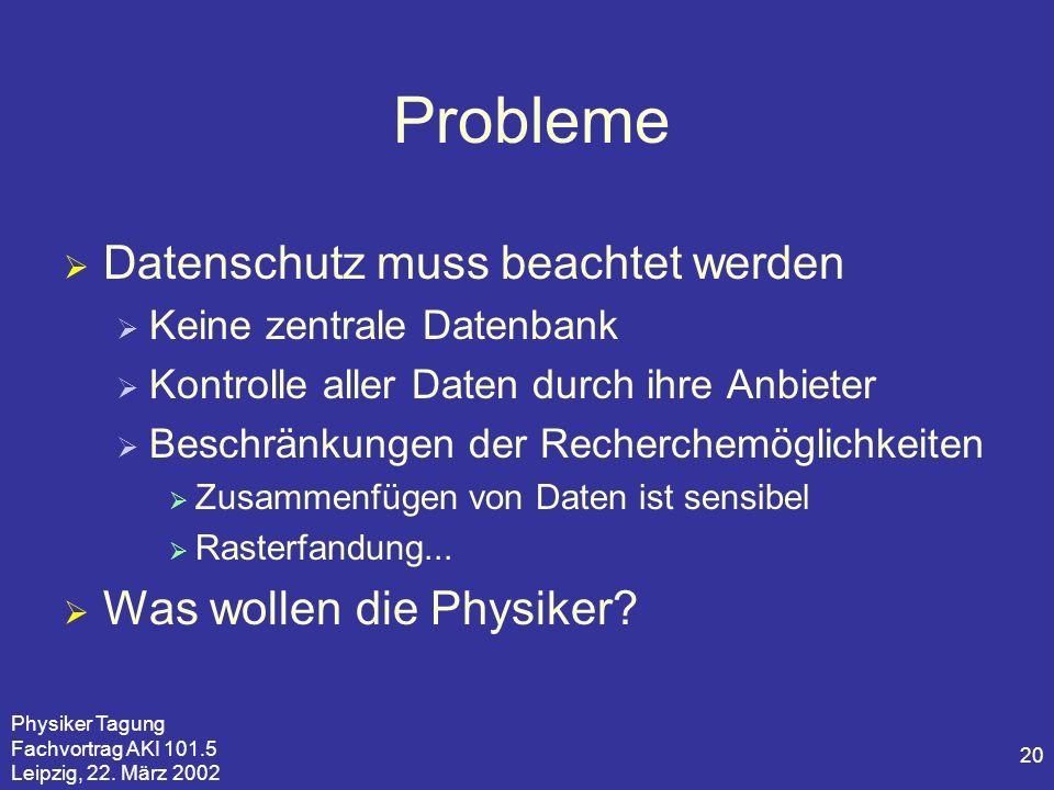 Physiker Tagung Fachvortrag AKI 101.5 Leipzig, 22. März 2002 20 Probleme Datenschutz muss beachtet werden Keine zentrale Datenbank Kontrolle aller Dat