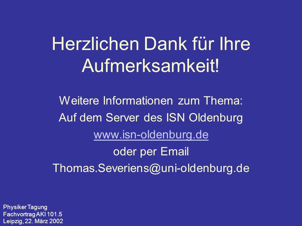 Physiker Tagung Fachvortrag AKI 101.5 Leipzig, 22. März 2002 Herzlichen Dank für Ihre Aufmerksamkeit! Weitere Informationen zum Thema: Auf dem Server
