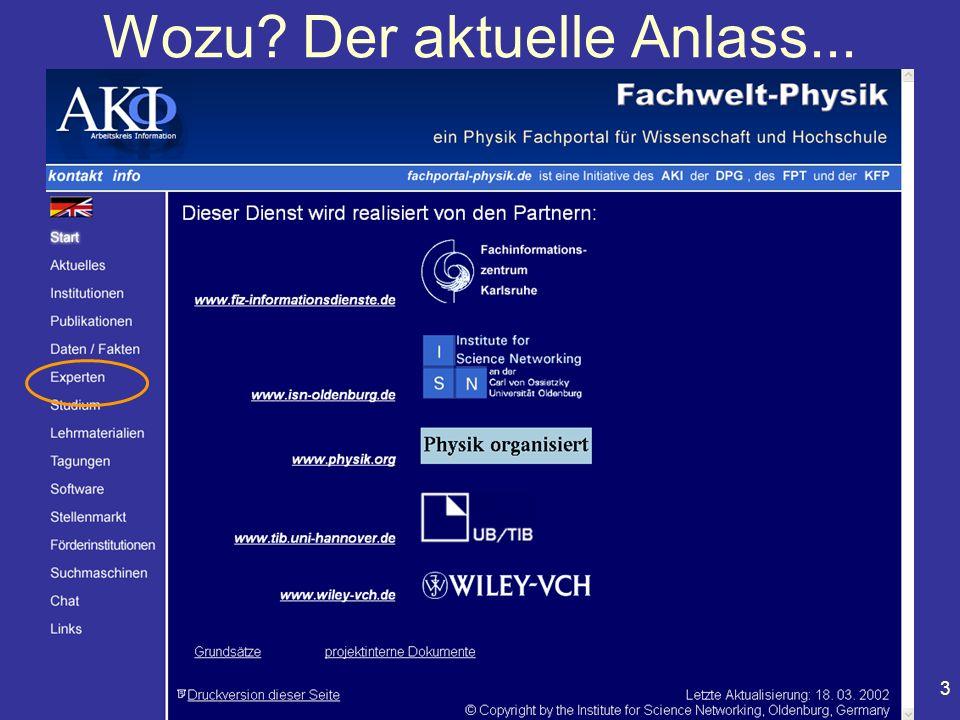 Physiker Tagung Fachvortrag AKI 101.5 Leipzig, 22. März 2002 3 Wozu? Der aktuelle Anlass...