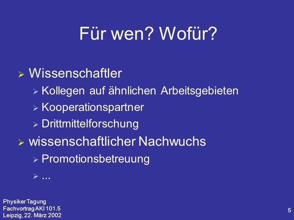 Physiker Tagung Fachvortrag AKI 101.5 Leipzig, 22. März 2002 5 Für wen? Wofür? Wissenschaftler Kollegen auf ähnlichen Arbeitsgebieten Kooperationspart