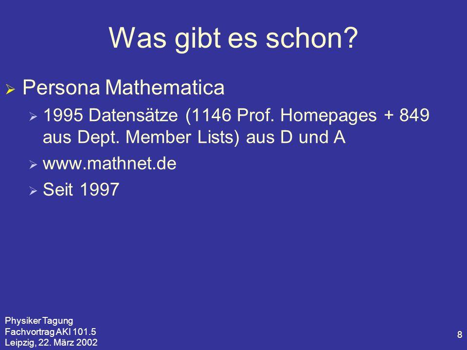 Physiker Tagung Fachvortrag AKI 101.5 Leipzig, 22. März 2002 8 Was gibt es schon? Persona Mathematica 1995 Datensätze (1146 Prof. Homepages + 849 aus