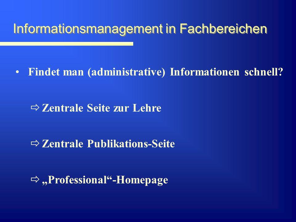 Informationsmanagement in Fachbereichen Kann man nach Stichworten suchen.