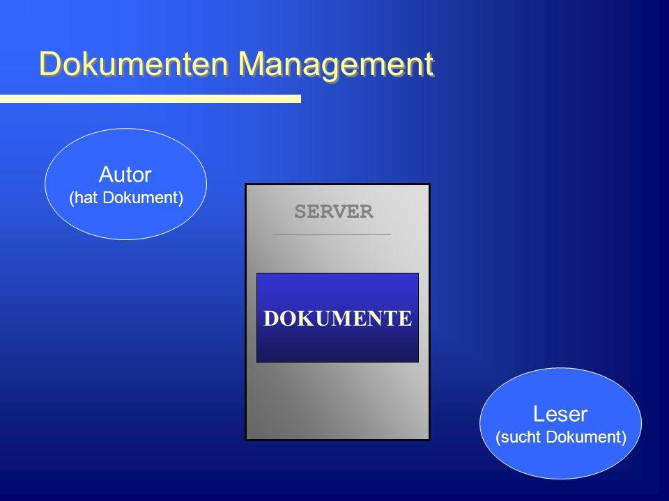 Dokumenten Management Autor (hat Dokument) Leser (sucht Dokument) SERVER DOKUMENTE ? ?
