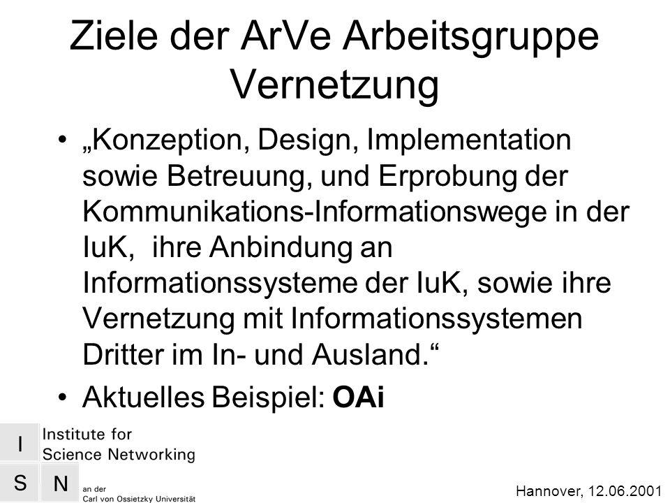 Hannover, 12.06.2001 Ziele der ArVe Arbeitsgruppe Vernetzung Konzeption, Design, Implementation sowie Betreuung, und Erprobung der Kommunikations-Informationswege in der IuK, ihre Anbindung an Informationssysteme der IuK, sowie ihre Vernetzung mit Informationssystemen Dritter im In- und Ausland.