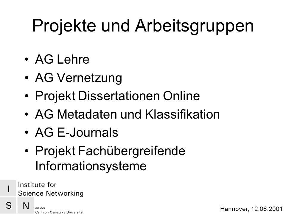 Hannover, 12.06.2001 Projekte und Arbeitsgruppen AG Lehre AG Vernetzung Projekt Dissertationen Online AG Metadaten und Klassifikation AG E-Journals Projekt Fachübergreifende Informationsysteme