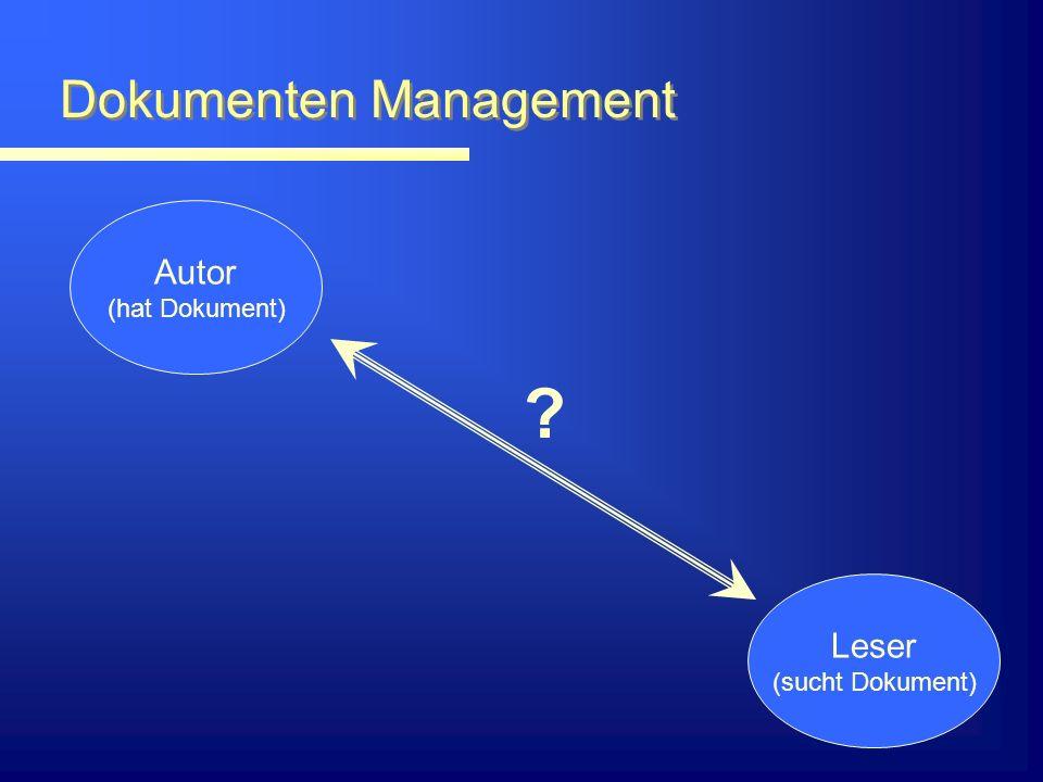Dokumenten Management Autor (hat Dokument) Leser (sucht Dokument)