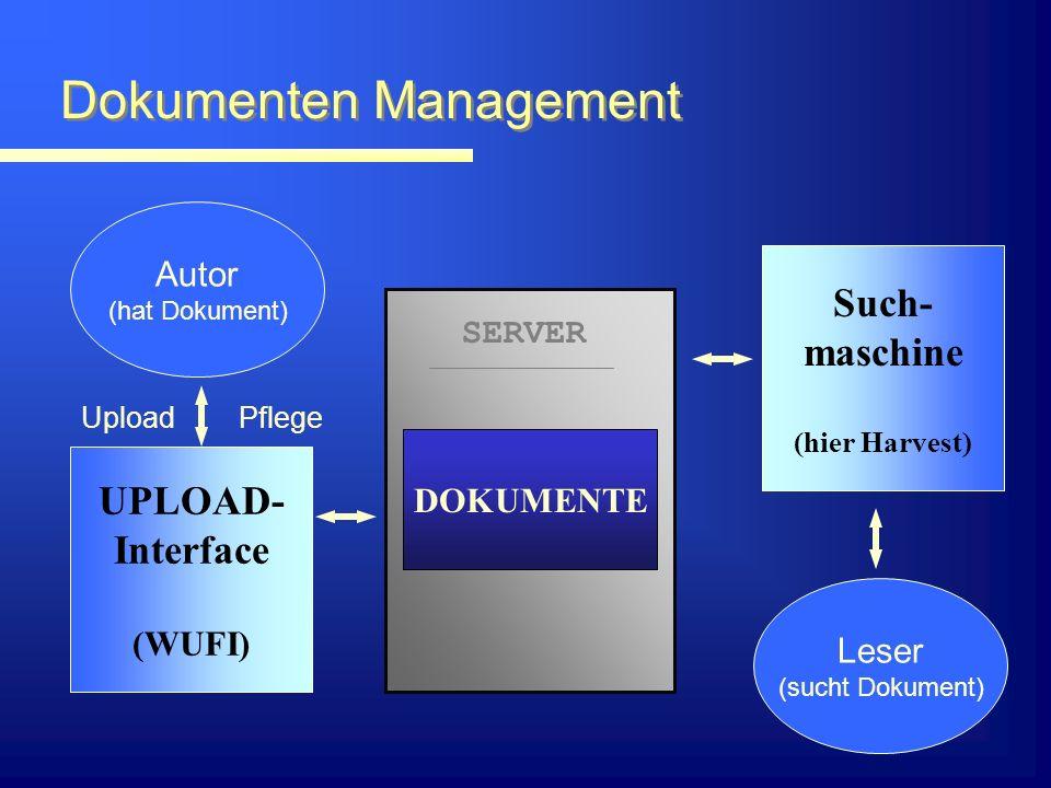 Suchmaschine: Ansatz Lokale Suchmaschine; sucht nur über Dokumente => hohe Effizienz, wenig Netzbelastung Weiterer Schritt: Kopplung lokaler Maschinen => Erweiterung des Datenbestandes