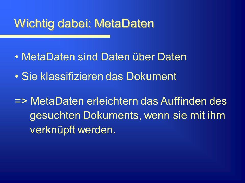Wichtig dabei: MetaDaten MetaDaten sind Daten über Daten Sie klassifizieren das Dokument => MetaDaten erleichtern das Auffinden des gesuchten Dokuments, wenn sie mit ihm verknüpft werden.