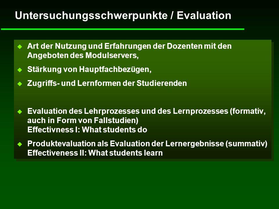 Untersuchungsschwerpunkte / Evaluation u Art der Nutzung und Erfahrungen der Dozenten mit den Angeboten des Modulservers, u Stärkung von Hauptfachbezü