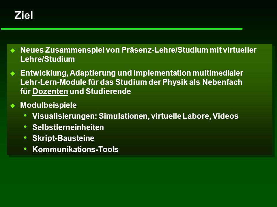 Ziel u Neues Zusammenspiel von Präsenz-Lehre/Studium mit virtueller Lehre/Studium u Entwicklung, Adaptierung und Implementation multimedialer Lehr-Ler