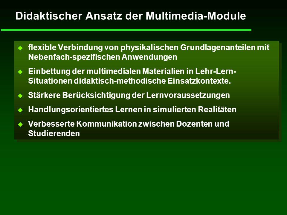 Didaktischer Ansatz der Multimedia-Module u flexible Verbindung von physikalischen Grundlagenanteilen mit Nebenfach-spezifischen Anwendungen u Einbett