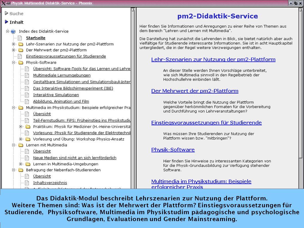Einleitung pmm LiLi ENGINe Fazit Das Didaktik-Modul beschreibt Lehrszenarien zur Nutzung der Plattform.