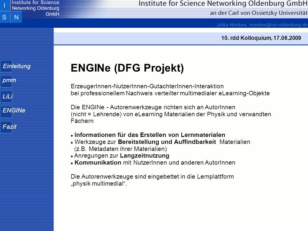 Einleitung pmm LiLi ENGINe Fazit 10.