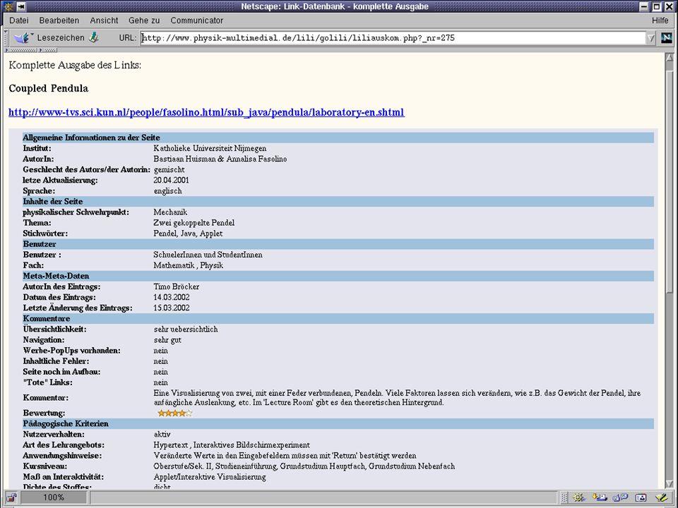 physik multimedial Lehr- und Lernmodule für das Studium der Physik als Nebenfach Titel der Seite Inhalt der Seite … Verteilte Archive, Metadaten und Bereitstellung von eLearning Modulen Julika Mimkes: mimkes@uni-oldenburg.de Standardisierung im eLearning, Frankfurt, 11.4.2002 www.physik-multimedial.de