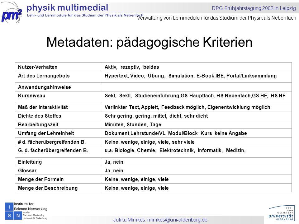 Julika Mimkes: mimkes@uni-oldenburg.de Metadaten: pädagogische Kriterien physik multimedial Lehr- und Lernmodule für das Studium der Physik als Nebenfach DPG-Frühjahrstagung 2002 in Leipzig Verwaltung von Lernmodulen für das Studium der Physik als Nebenfach Nutzer-VerhaltenAktiv, rezeptiv, beides Art des LernangebotsHypertext, Video, Übung, Simulation, E-Book,IBE, Portal/Linksammlung Anwendungshinweise KursniveauSekI, SekII, Studieneinführung,GS Hauptfach, HS Nebenfach,GS HF, HS NF Maß der InteraktivitätVerlinkter Text, Applett, Feedback möglich, Eigenentwicklung möglich Dichte des StoffesSehr gering, gering, mittel, dicht, sehr dicht BearbeitungszeitMinuten, Stunden, Tage Umfang der LehreinheitDokument Lehrstunde/VL Modul/Block Kurs keine Angabe # d.