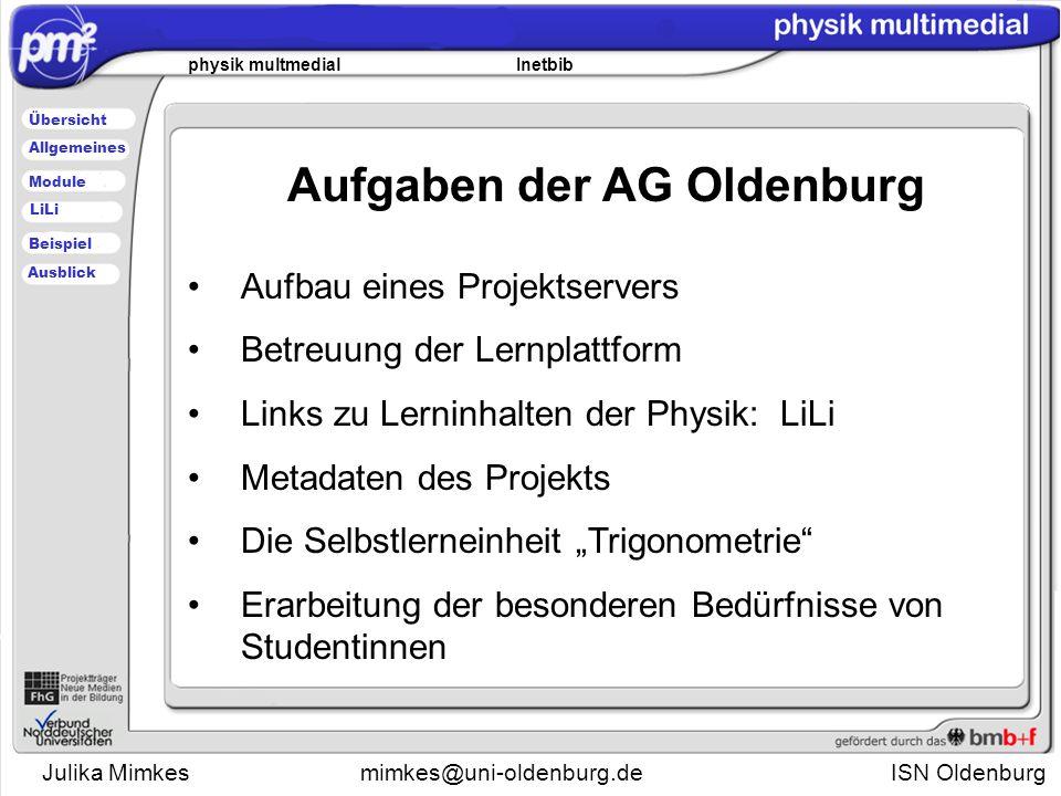 Julika Mimkesmimkes@uni-oldenburg.de ISN Oldenburg physik multmedial Inetbib Übersicht Module Allgemeines Beispiel LiLi Ausblick Die Institute for Science Networking Oldenburg GmbH CEO: Prof.