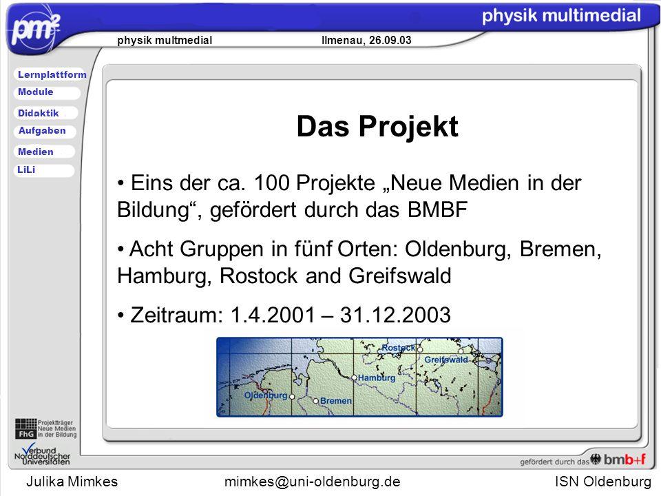 Julika Mimkesmimkes@uni-oldenburg.de ISN Oldenburg physik multmedial Ilmenau, 26.09.03 Lernplattform Didaktik Module Medien Aufgaben LiLi Das Projekt Eins der ca.