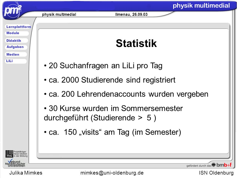 Julika Mimkesmimkes@uni-oldenburg.de ISN Oldenburg physik multmedial Ilmenau, 26.09.03 Lernplattform Didaktik Module Medien Aufgaben LiLi Statistik 20 Suchanfragen an LiLi pro Tag ca.