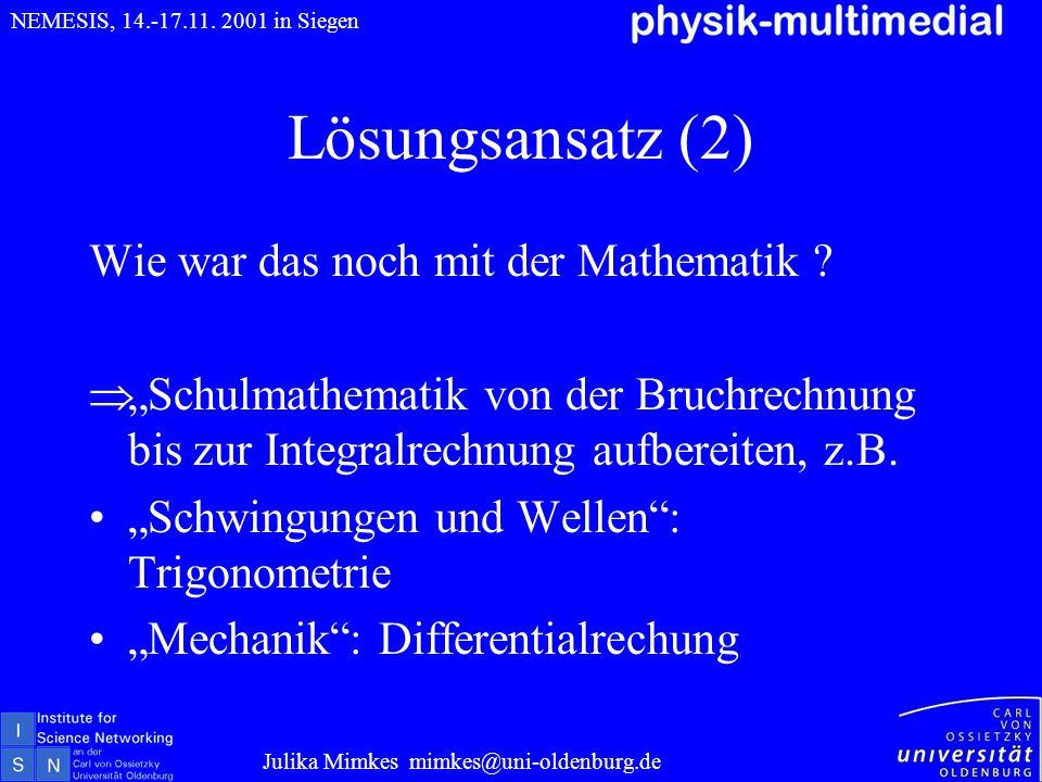 Lösungsansatz (2) Wie war das noch mit der Mathematik ? Schulmathematik von der Bruchrechnung bis zur Integralrechnung aufbereiten, z.B. Schwingungen