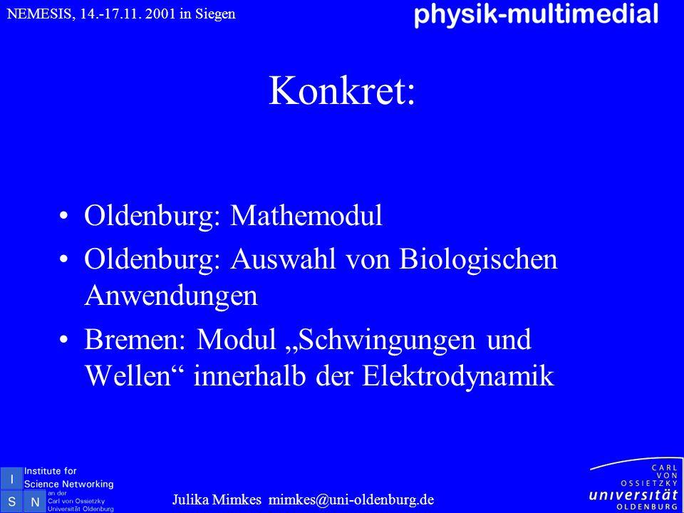 Konkret: Oldenburg: Mathemodul Oldenburg: Auswahl von Biologischen Anwendungen Bremen: Modul Schwingungen und Wellen innerhalb der Elektrodynamik Juli