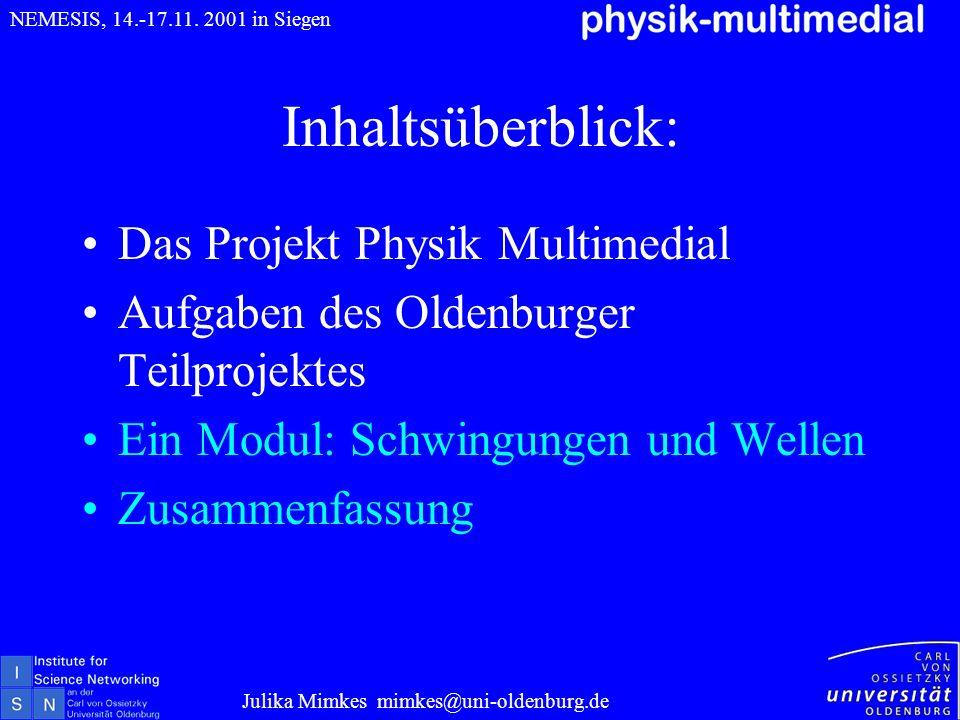 Inhaltsüberblick: Das Projekt Physik Multimedial Aufgaben des Oldenburger Teilprojektes Ein Modul: Schwingungen und Wellen Zusammenfassung Julika Mimk