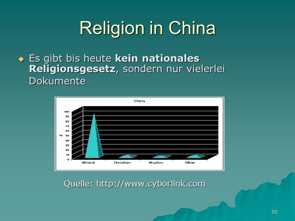 10 Religion in China Es gibt bis heute kein nationales Religionsgesetz, sondern nur vielerlei Dokumente Es gibt bis heute kein nationales Religionsgesetz, sondern nur vielerlei Dokumente Quelle: http://www.cyborlink.com Quelle: http://www.cyborlink.com