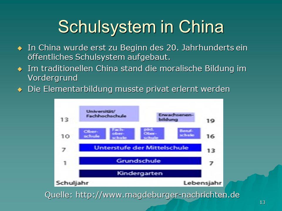 13 Schulsystem in China In China wurde erst zu Beginn des 20.