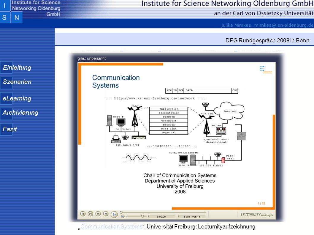 Einleitung Szenarien eLearning Archivierung Fazit DFG Rundgespräch 2008 in Bonn Communication Systems, Universität Freiburg: Lecturnityaufzeichnung Co