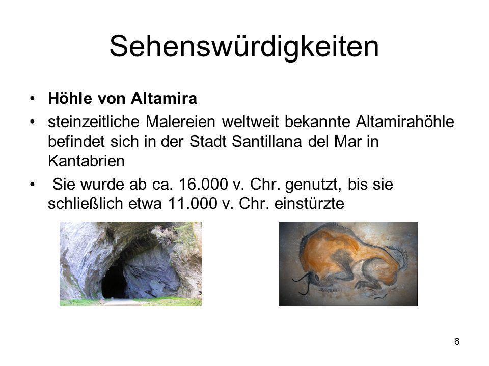 6 Sehenswürdigkeiten Höhle von Altamira steinzeitliche Malereien weltweit bekannte Altamirahöhle befindet sich in der Stadt Santillana del Mar in Kant