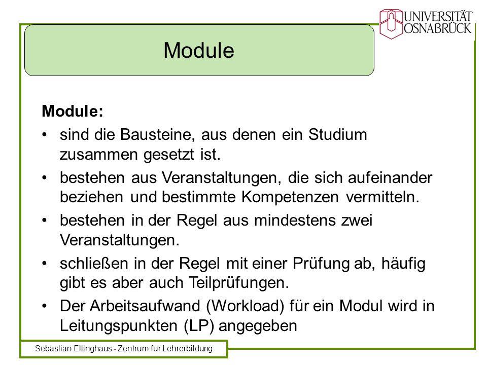 Sebastian Ellinghaus - Zentrum für Lehrerbildung Modul MK Prüfung Modulbeschreibung Ziele … Dauer … LP … … … Dauer: 1-2 Semester